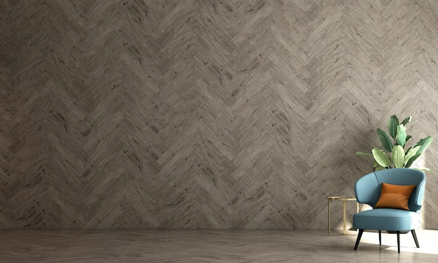 Woonkamer in scandinavische stijl met bank en theetafel. minimalistisch woonkamerontwerp en lege houten muurachtergrond, 3d illustratie