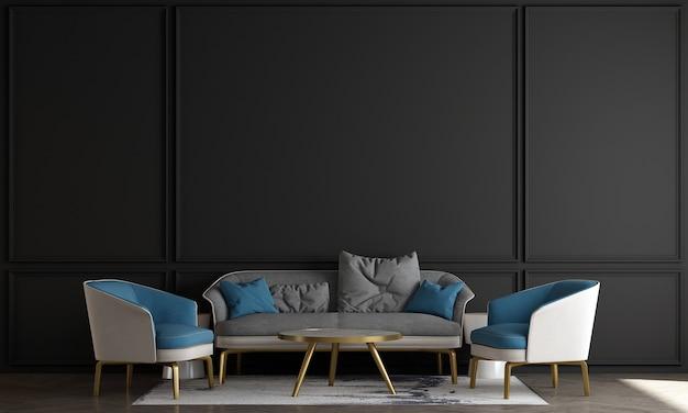 Woonkamer in scandinavische stijl met bank en theetafel. minimalistisch woonkamerontwerp en lege zwarte muurachtergrond, 3d illustratie