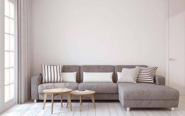 Woonkamer interieur in scandinavische stijl 3d render.