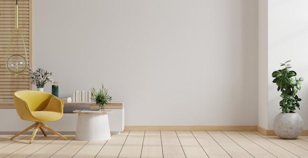 Woonkamer interieur kamer muur in warme tinten, gele fauteuil met houten kast.
