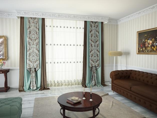Woonkamer interieur met decoratie