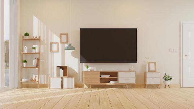 Woonkamer interieur met dressoir en tv 3d-rendering