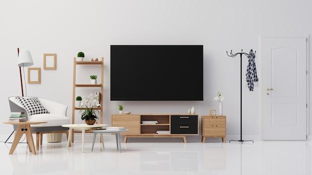 Woonkamer interieur met fauteuil, dressoir en tv 3d-rendering