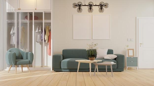 Woonkamer interieur met fauteuil, fauteuil en kast 3d-rendering