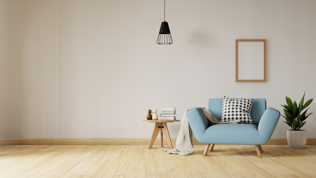Woonkamer interieur met fluweelblauwe bank, tafel. 3d-weergave