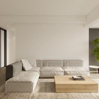 Woonkamer interieur met grijze bank 3d render