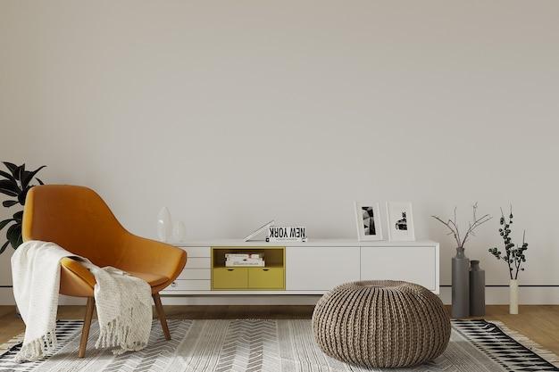 Woonkamer interieur met oranje fauteuil