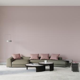 Woonkamer interieur met sofa en roze kussens