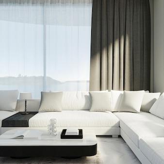 Woonkamer interieur mock up, zwart-wit kamer interieur, 3d-rendering