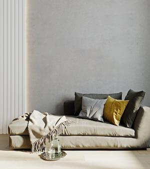 Woonkamer interieur muur mock up met grijze bank, geel kussen en plaid op lege beige muur achtergrond. 3d-weergave.