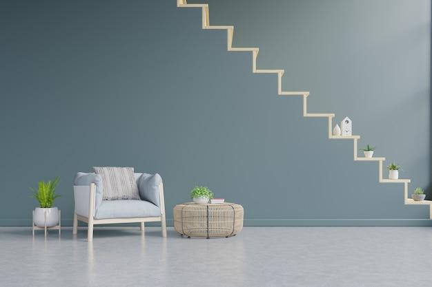 Woonkamer interieur muur mockup met tan blauwe fauteuil op muur met trappen.
