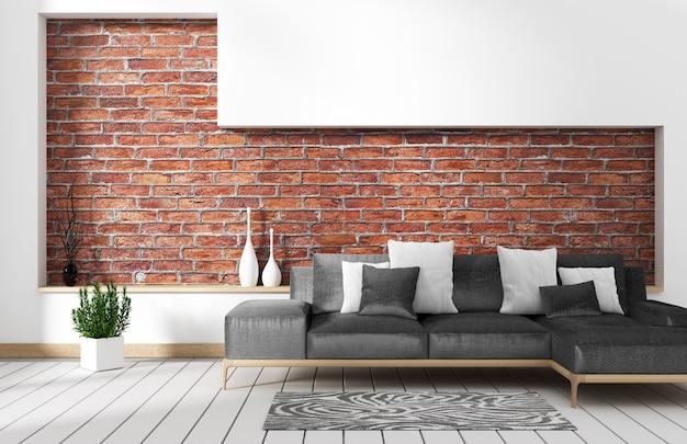 Woonkamer loft interieur met sofa en muur patroon baksteen in witte muur. 3d-rendering