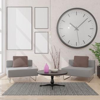 Woonkamer met drie witte canvas. plaats je afbeelding.