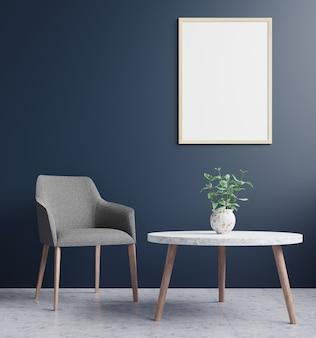 Woonkamer met een fotolijst aan de donkerblauwe muur, versierd met bloemen en een fauteuil op beton. 3d-weergave.