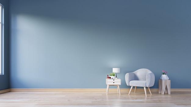 Woonkamer met fauteuil met lamp op boomstronk, houten vloeren en donkerblauwe muur