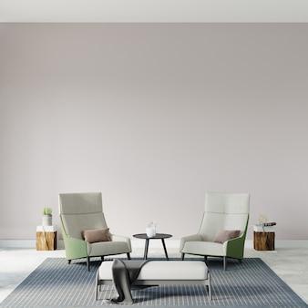 Woonkamer met fauteuils voor de witte muur