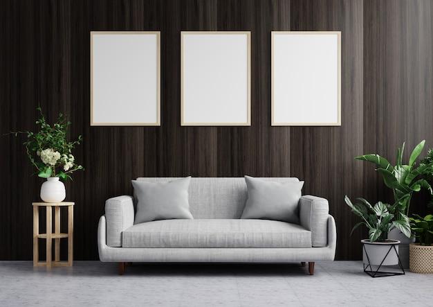 Woonkamer met fotolijst aan de donkerhouten muur, gedecoreerd met bank en planten aan de vloerzijde. 3d-weergave.