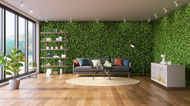 Woonkamer met groene muren ecostyle in interieur verticale tuin 3d render