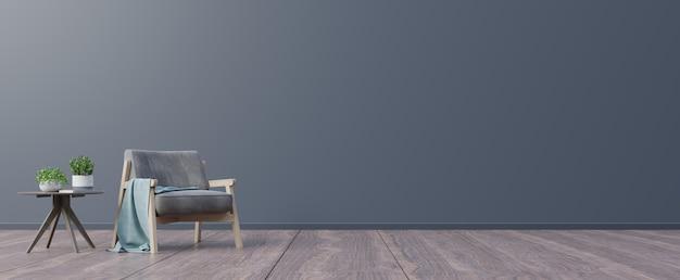 Woonkamer met houten tafel en fauteuil.