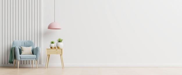 Woonkamer met houten tafel, lampen en blauwe fauteuil, 3d-rendering
