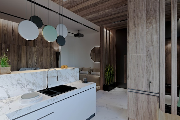 Woonkamer met keuken, hal en eetkamer, open haard, houten lambrisering en marmer