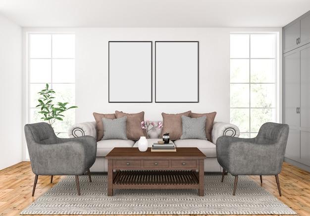 Woonkamer met lege dubbele frames mockup