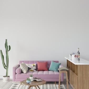 Woonkamer met roze bank en kleurrijke kussens