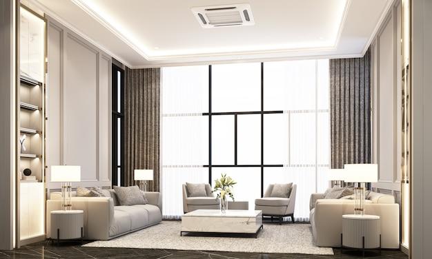 Woonkamer met sofa salontafel en fauteuil op zwart marmeren vloer en klassieke element decoratie muur en plafond 3d-rendering
