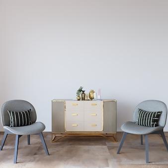 Woonkamer met stoel en commode