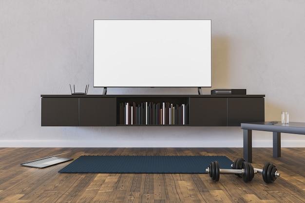 Woonkamer met tv-mock-up, laptop en mat met dumbbells op de vloer