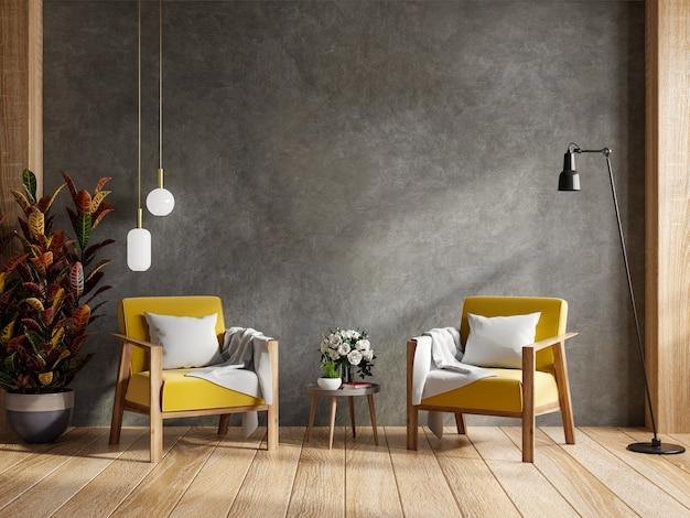 Woonkamer met twee gele fauteuils, mockup betonnen muur. 3d-rendering