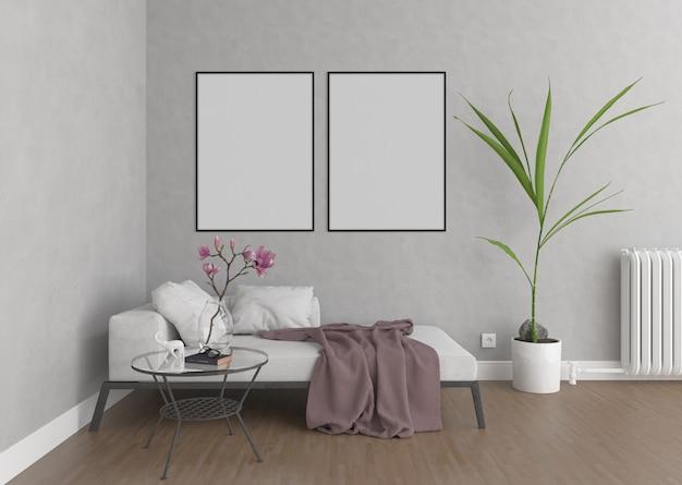 Woonkamer met verticale frames, kunstwerk achtergrond, interieur mockup