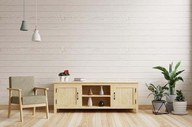 Woonkamer met witte houten wand is leeg. versierd met een kast, een fauteuil en planten. 3d-weergave.