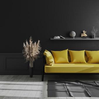 Woonkamer modern interieur met zwarte muur, gele bank en pampagras, luxe donker interieur, donkere woonkamer mock up, scandinavische stijl, 3d-rendering