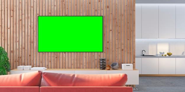 Woonkamer tv met lattenbank, keuken, console. 3d render illustratie.