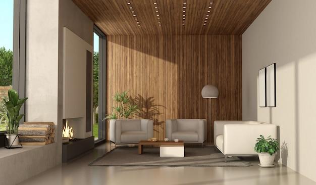 Woonkamer van een moderne villa met open haard en wit meubilair