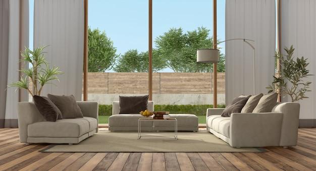 Woonkamer van een moderne villa