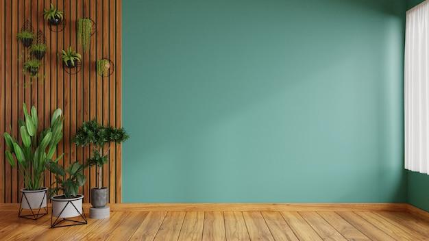 Woonkamer versierd met planten heeft prachtige groene muren. 3d-weergave.