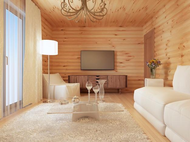 Woonkamerbinnenland in een blokhut met de console en tv, en zacht weefsel met een fauteuil