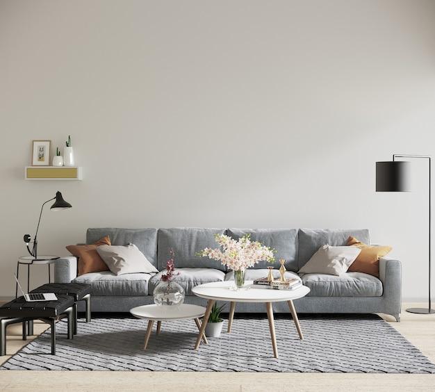 Woonkamerbinnenland in scandinavische stijl met meubels