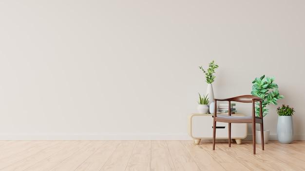 Woonkamerbinnenland met decoratie op lege witte muur