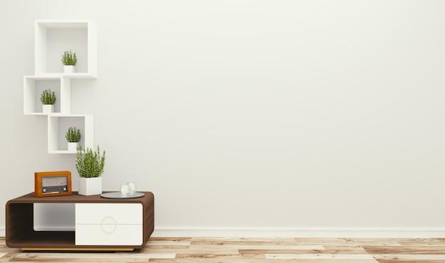 Woonkamerbinnenland op lege witte muurachtergrond - minimaal ontwerp, het 3d teruggeven