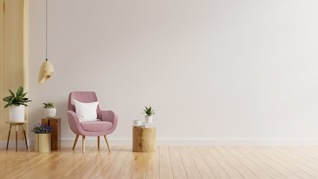 Woonkamermuurmodel in warme tinten met roze fauteuil en plant.3d-rendering