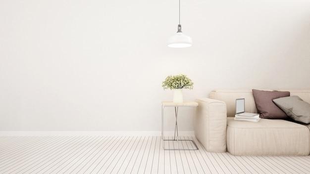 Woonruimte in huis of appartement - 3d-rendering