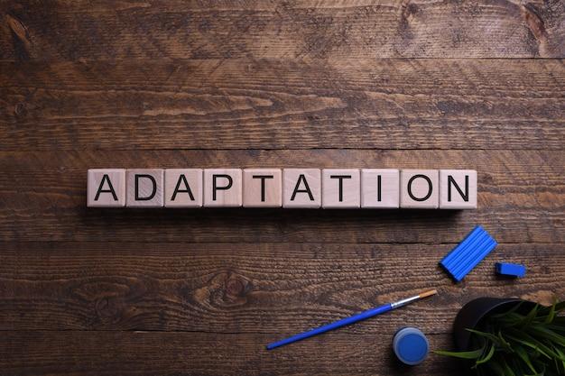 Woord aanpassing houten kubussen, blokken op het gebied van onderwijs, ontwikkeling en training op een houten tafel. bovenaanzicht .