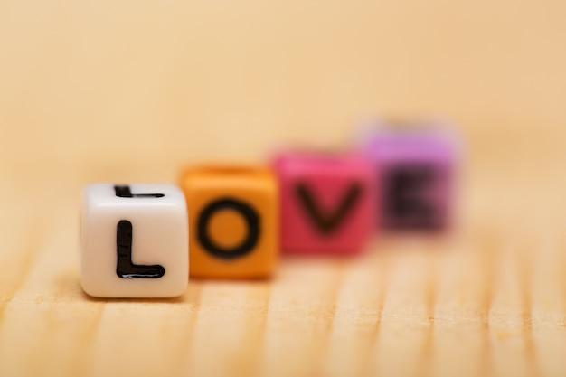 Woord liefde van kubussen, valentijnsdag