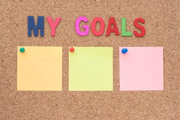 Woord mijn doelen met notitieblok