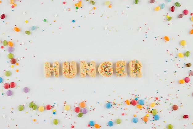 Woordhonger gemaakt van zoete suiker zelfgemaakte koekjes, kleurrijke snoepjes en hagelslag rond