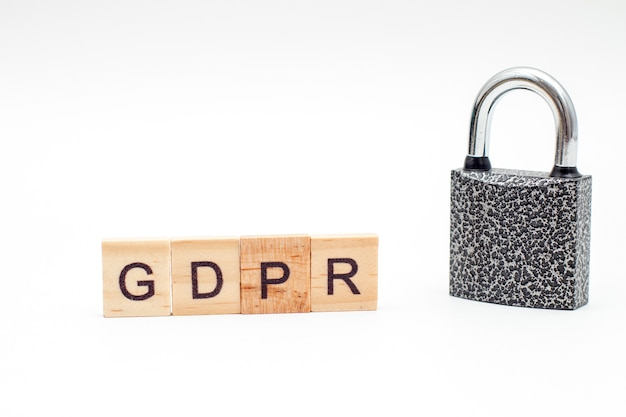 Word algemene verordening gegevensbescherming gemaakt van houten blokken m