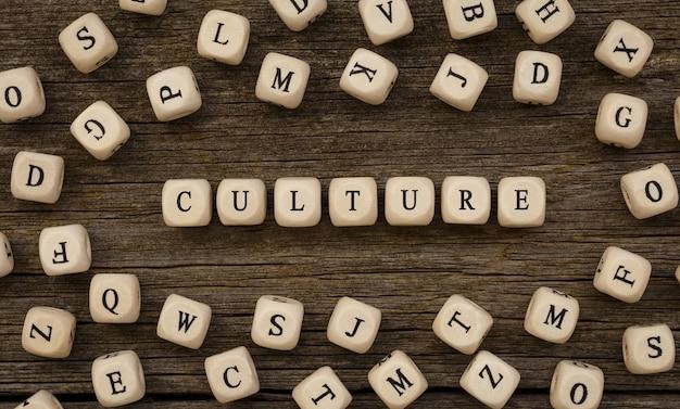 Word cultuur geschreven op hout blok